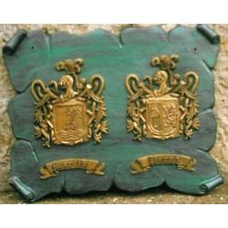 Escudo Heráldico Doble en Pergamino de Aluminio